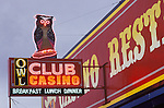 Owl Club neon sign along U.S. 50, Eureka, Nevada.