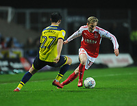 Fleetwood Town's George Glendon under pressure from Oxford United's Alex Mowatt<br /> <br /> Photographer Kevin Barnes/CameraSport<br /> <br /> The EFL Sky Bet League One - Oxford United v Fleetwood Town - Tuesday 10th April 2018 - Kassam Stadium - Oxford<br /> <br /> World Copyright &copy; 2018 CameraSport. All rights reserved. 43 Linden Ave. Countesthorpe. Leicester. England. LE8 5PG - Tel: +44 (0) 116 277 4147 - admin@camerasport.com - www.camerasport.com