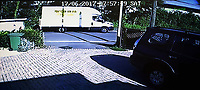 ALEX WEST STORY<br /> Pictured: A CCTV video grab showing a Luton van being driven through Pontyclun in south Wales Wales, UK<br /> Re: The man who drove the vehicle which drove into worshippers near a north London mosque has been named as Darren Osborne from Cardiff, South Wales