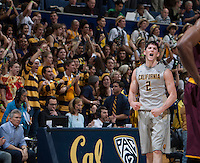 Sam Singer of California celebrates during the game against Arizona State at Haas Pavilion in Berkeley, California on January 29th, 2014.   Arizona State defeated California, 89-78.