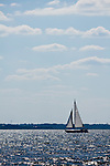 Sailboat sailing sloop with puffy white clouds in the sky on the Charleston Harbor