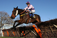 White Diamond ridden by Harry Haynes in jumping action during the Wensum Handicap Hurdle