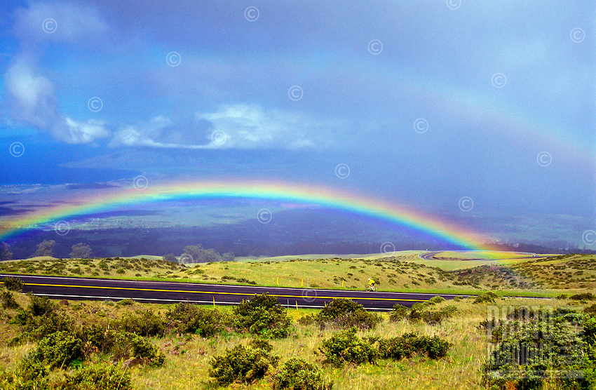 A biker is framed under a rainbow at a 6,000-ft. elevation on Crater Road through Haleakala Ranch on Haleakala, Maui. This is the road on which the annual 38-mile Cycle To The Sun race is held. Starting at The North Shore, they cycle/race up to a 10,000-ft. elevation going through Upcountry Maui, Kula.
