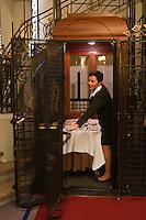 Europe/France/Nord-Pas-de-Calais/Pas-de-Calais/62/Le Touquet: Hôtel Westminster - le room service dans l'ascenceur art déco de l'Hôtel // France, Pas de Calais, Le Touquet, Westminster Hotel, room service elevator in the Art Deco Hotel