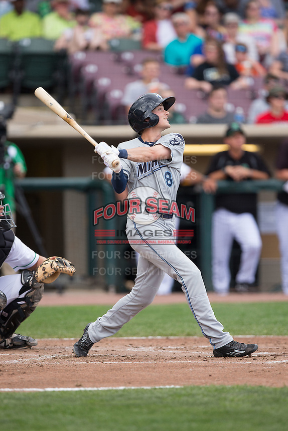 Danny Woodrow (8) of the West Michigan Whitecaps follows through on his swing against the Dayton Dragons at Fifth Third Field on May 29, 2017 in Dayton, Ohio.  The Dragons defeated the Whitecaps 4-2.  (Brian Westerholt/Four Seam Images)