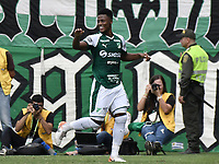 PALMIRA - COLOMBIA, 01-09-2019: Danny Rosero Valencia del Cali celebra después de anotar el segundo gol de su equipo durante partido entre Deportivo Cali y Deportivo Pasto por la fecha 9 de la Liga Águila II 2019 jugado en el estadio Deportivo Cali de la ciudad de Palmira. / Danny Rosero Valencia of Cali celebrates after scoring the second goal of his team during match between Deportivo Cali and Deportivo Pasto for the date 9 as part Aguila League II 2019 played at Deportivo Cali stadium in Palmira city. Photo: VizzorImage / Gabriel Aponte / Staff