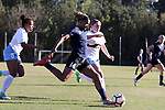 CARY, NC - APRIL 08: Courage's Jessica McDonald (14) gets behind North Carolina's Jessie Scarpa (12) and Maya Worth (5). The NWSL's North Carolina Courage played a preseason game against the University of North Carolina Tar Heels on April 8, 2017, at WakeMed Soccer Park Field 3 in Cary, NC. The Courage won the match 1-0.