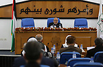 Deputy of the Legislative Council, Ahmed Bahar speaks during a meeting at the legislative council, in Gaza city on February 20, 2019. Photo by Ashraf Amra