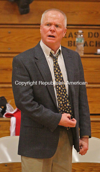 Litchfield, CT-011416MK02 Wamogo's coach Gregg Hunt calls to his players from the bench during Berkshire League action against Thomaston Thursday night at Wamogo High School.  Wamogo defeated Thomaston 49 - 27. Michael Kabelka Republican-American