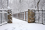 Snow Covered Trees And Foot Bridge During Winter In The Park, Sharon Woods, Southwestern Ohio, USA