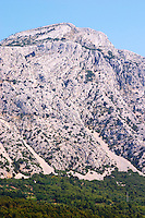Mountain top of the Mount Sveti Ilija, with white rock formations. Peljesac Peninsula. Orebic town. Peljesac peninsula. Dalmatian Coast, Croatia, Europe.