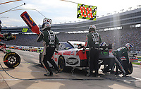 Nov. 8, 2009; Fort Worth, TX, USA; NASCAR Sprint Cup Series driver Dale Earnhardt Jr pits during the Dickies 500 at the Texas Motor Speedway. Mandatory Credit: Mark J. Rebilas-