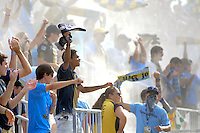 Philadelphia Union fans celebrate at the end of the game. The Philadelphia Union defeated Toronto FC 2-1 on a second half stoppage time goal during a Major League Soccer (MLS) match at PPL Park in Chester, PA, on July 17, 2010.