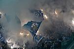 15.04.2019, Rheinenergiestadion, K&ouml;ln, GER, DFL, 2. BL, 1. FC Koeln vs Hamburger SV, DFL regulations prohibit any use of photographs as image sequences and/or quasi-video<br /> <br /> im Bild Feuer / Rauch / Bengali / Bengalis / bengalisches Feuer / zuenden Feuerwerk /  Rauchbombe im Hamburger Fanblock<br /> <br /> Foto &copy; nph/Mauelshagen