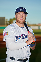 Pensacola Blue Wahoos Travis Blankenhorn (32) poses for a photo before a Southern League game against the Biloxi Shuckers on May 3, 2019 at Admiral Fetterman Field in Pensacola, Florida.  Pensacola defeated Biloxi 10-8.  (Mike Janes/Four Seam Images)