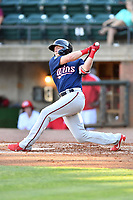 Elizabethton Twins Tyler Webb (30) swings at a pitch during a game against the Greenville Reds at Pioneer Park on June 29, 2019 in Greeneville, Tennessee. The Twins defeated the Reds 8-1. (Tony Farlow/Four Seam Images)