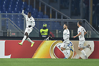 Anderson Niangbo, Shon Weissman and Lukas Schmitz of Wolfsberger celebrate after the own goal of Alessandro Florenzi 1-1 <br /> Roma 12-12-2019 Stadio Olimpico <br /> Football Europa League 2019/2020 Group J <br /> AS Roma -  Wolfsberg  <br /> Photo Antonietta Baldassarre / Insidefoto
