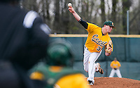 Cody Albright pitches during Cecil College's doubleheader against Niagara College at Cecil College in North East, Maryland on March 24, 2012. Niagara swept the matchup 6-5 and 3-0.