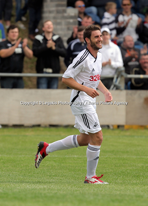 Pictured: Angel Rangel of Swansea celebrating his goal. Saturday 17 July 2011<br /> Re: Pre season friendly, Port Talbot Football Club v Swansea City FC at the GenQuip ground, Port Talbot, south Wales.