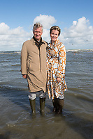 King Philippe & Queen Mathilde of Belgium meet with shrimp-fishermen on horses - Belgium