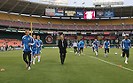 14 April 2007: Kansas City assistant coach Chris Henderson (in black) leads the team in pregame warmups.  DC United lost 4-2 to the Kansas City Wizards at RFK Stadium in Washington, DC in their Major League Soccer 2007 regular season home opener.