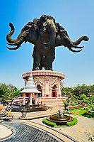 Giant three headed elephant, the Erawan Museum in Samut Prakan, southeast of Bangkok, Thailand..Commissioned by Lek Viriyapant and the museum houses his priceless collection of ancient religious objects.