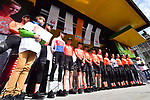 CCC Team at the team presentation before the start of the 105th edition of Liège-Bastogne-Liège 2019, La Doyenne, running 256km from Liege to Liege, Belgium. 27th April 2019<br /> Picture: ASO/Gautier Demouveaux | Cyclefile<br /> All photos usage must carry mandatory copyright credit (© Cyclefile | ASO/Gautier Demouveaux)