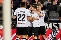 1st February 2020; Mestalla, Valencia, Spain; La Liga Football,Valencia versus Celta Vigo; Carlos Soler of Valencia CF celebrates with his team mates after scoring in minute 77' for 1-0