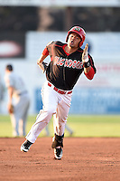 Batavia Muckdogs outfielder Victor Castro (40) running the bases on a triple during a game against the Connecticut Tigers on July 21, 2014 at Dwyer Stadium in Batavia, New York.  Connecticut defeated Batavia 12-3.  (Mike Janes/Four Seam Images)