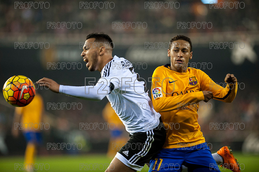 VALENCIA, SPAIN - DECEMBER 5:Ruben Vezo and Neymar during BBVA LEAGUE match between Valencia C.F. and FC Barcelona at Mestalla Stadium on December 5, 2015 in Valencia, Spain
