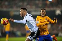 VALENCIA, SPAIN - DECEMBER 5:Ruben Vezo and Neymar during BBVA LEAGUE match between Valencia C.F. and FC Barcelona at Mestalla Stadium on December 5, 2015 in Valencia, Spain