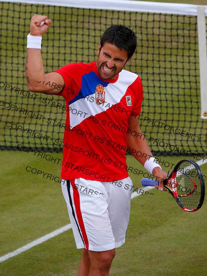 Olympic games London 2012.Tennis tournament.Janko Tipsarevic SRB v Philipp Petzschner GER.Janko Tipsarevic reacts.London, 30.07.2012..foto: Srdjan Stevanovic/Starsportphoto ©