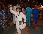 A photograph taken during the Onesie Crawl held on Saturday night, Nov. 18, 2017 in downtown Reno.