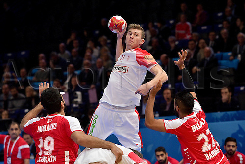 January 18th 2017, Parc Exposition XXL, Nantes, France; 25th World Handball Championships; Denmark versus Bahrain; LANDIN Magnus (Danemark)  ; Denmark won 30-26
