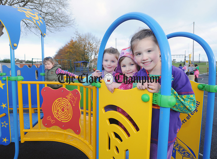 Amy Melvin, Amy Connors and Amanda Melvin smiling for the camera at the opening of the Gort Community Playground on the Ennis Road. Photograph by Declan Monaghan