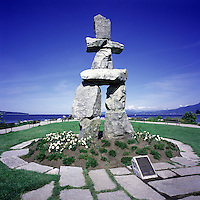 "The Inukshuk at English Bay, in the West End of Vancouver, British Columbia, Canada.  Artist ""Alvin Kanak""."