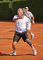 Netherlands, Amstelveen, August 22, 2015, Tennis,  National Veteran Championships, NVK, TV de Kegel,  Men's doubles 55+, Rolf Thung/Frits Raijmakers(R)<br /> Photo: Tennisimages/Henk Koster