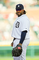 Detroit Tigers first baseman Prince Fielder (28) on defense against the Tampa Bay Rays at Comerica Park on June 4, 2013 in Detroit, Michigan.  The Tigers defeated the Rays 10-1.  Brian Westerholt/Four Seam Images