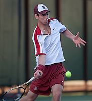 Stanford, CA -- February 4, 2012: John Morrissey during the Saturday afternoon Stanford vs UCLA match at Taube Family Tennis Stadium.<br /> <br /> No.6 Stanford suffered a 6-1 loss to No. 9 UCLA.