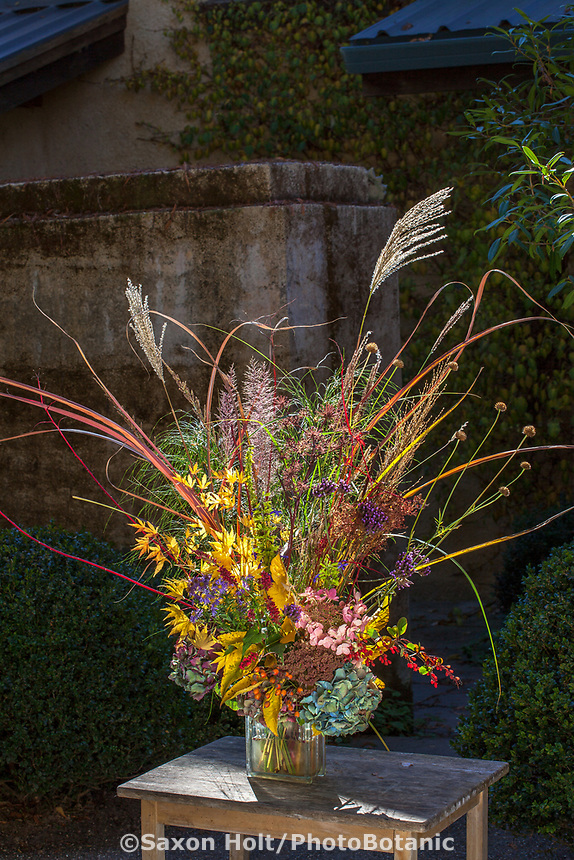 Autumn floral bouquet, with grasses, branches, seeds, foliage, leaves, flowers at Digging Dog Nursery; design Deborah Wigham.