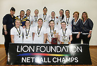 Otago team after defeating Hamilton in the Lion Foundation Netball Championship match final, day five, MoreFM Arena, Dunedin, New Zealand, Friday, October 04, 2013. Credit: Dianne Manson/©MBPHOTO /Michael Bradley Photography.