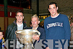 Cup : Sean Og Sheehy (cetre) holding the Sam Magure cup In Duagh on Saturday with kerry stars Kieran Quirke & Anthony Maher