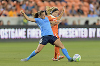 Erica Skroski (8) of Sky Blue FC strips the ball from Rachel Daly (3) of the Houston Dash on Friday, April 29, 2016 at BBVA Compass Stadium in Houston Texas. The Houston Dynamo and Sky Blue FC tied 0-0.