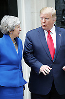 LONDON, ENGLAND - JUNE 04:Prime Minister Teresa May and Donald Trump outside in 10 Downing Street, during the second day of Trump State Visit on June 4, 2019 in London, England. <br /> CAP/GOL<br /> ©GOL/Capital Pictures