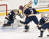 Cal Peterson (Notre Dame - 40), Ryan Fitzgerald (BC - 19), Jordan Gross (Notre Dame - 3) - The Boston College Eagles defeated the University of Notre Dame Fighting Irish 6-4 (EN) on Saturday, January 28, 2017, at Kelley Rink in Conte Forum in Chestnut Hill, Massachusetts.The Boston College Eagles defeated the University of Notre Dame Fighting Irish 6-4 (EN) on Saturday, January 28, 2017, at Kelley Rink in Conte Forum in Chestnut Hill, Massachusetts.