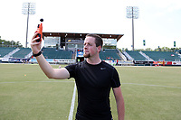 Cary, North Carolina  - Saturday August 19, 2017: Ryan Graves takes a reading with a wet bulb device to determine whether there would be a hydration break prior to a regular season National Women's Soccer League (NWSL) match between the North Carolina Courage and the Washington Spirit at Sahlen's Stadium at WakeMed Soccer Park. North Carolina won the game 2-0.