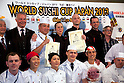 "March 8, 2013, Chiba, Japan - Sushi chefs and organizers pose for the cameras at the World Sushi Cup Japan 2013, Restaurant Competition in Makuhari. Word's top class Sushi Chefs from overseas and Japan attend the ""World Sushi Cup Japan 2013"" to show their creativity and inspiration for making sushi. The competition evaluates the sanitary and quality control management and methods as well as localizing taste and design. The contest was held fist time ever in conjunction with FOODEX Japan 2013. (Photo by Rodrigo Reyes Marin/AFLO).."