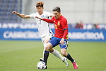 Spain's Hector Bellerin (r) and South Korea's Heung Min Son during friendly match. June 1,2016.(ALTERPHOTOS/Acero)