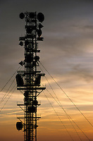 Communications tower at sunset.