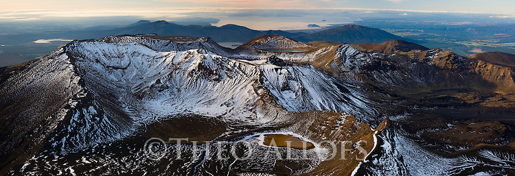 Northern part of Tongariro National Park as seen from top of Mount Ngauruhoe; sunset, North Island, New Zealand